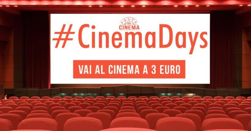 Tornano i Cinemadays, ingressi a 3 euro