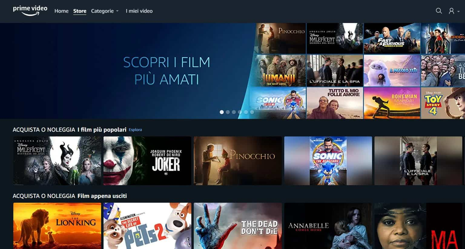 Prime Video Store: disponibile il noleggio dei film su Amazon Prime Video